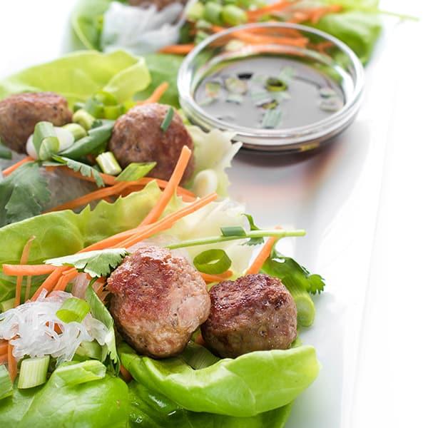 Vietnamese Lettuce Cups with Pork Meatballs