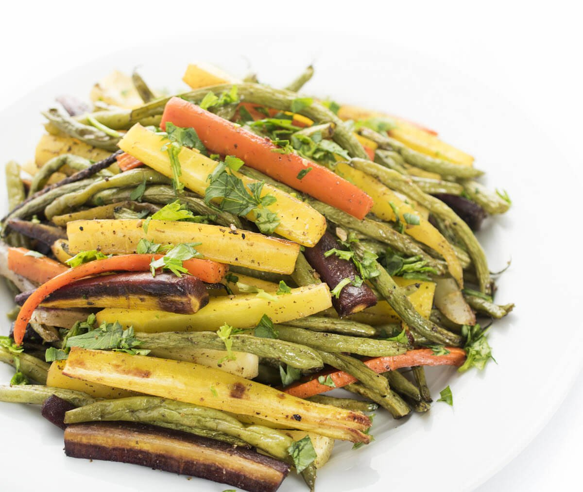 Za'atar Roasted Carrots and Green Beans on a plate