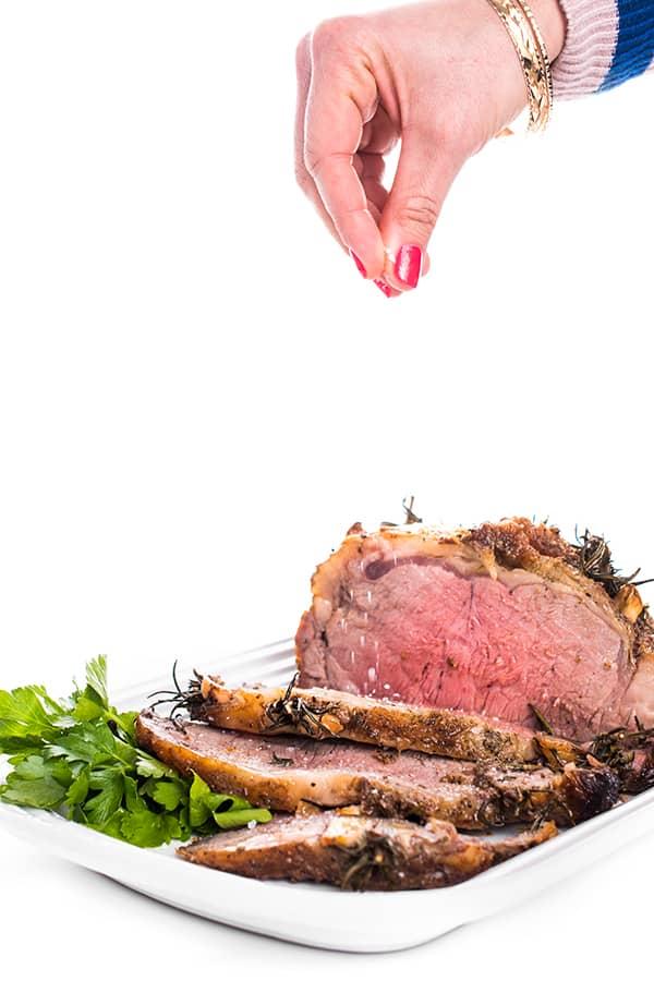 Garlic and Rosemary Studded Beef Strip Roast