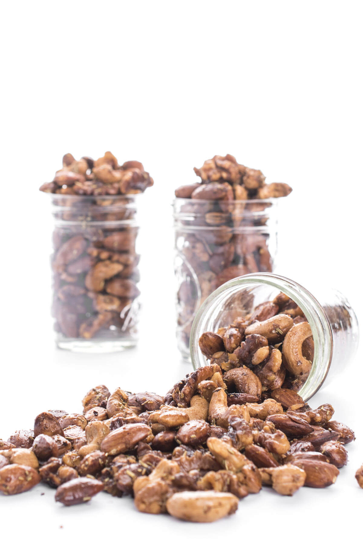 Sweet and Spicy Nuts in a mason jar