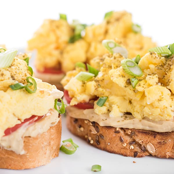 Hummus Toast with Scrambled Eggs
