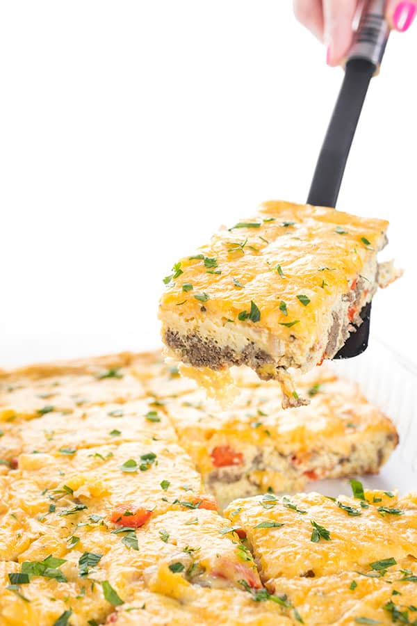 Cheesy Sausage and Pepper Egg Bake