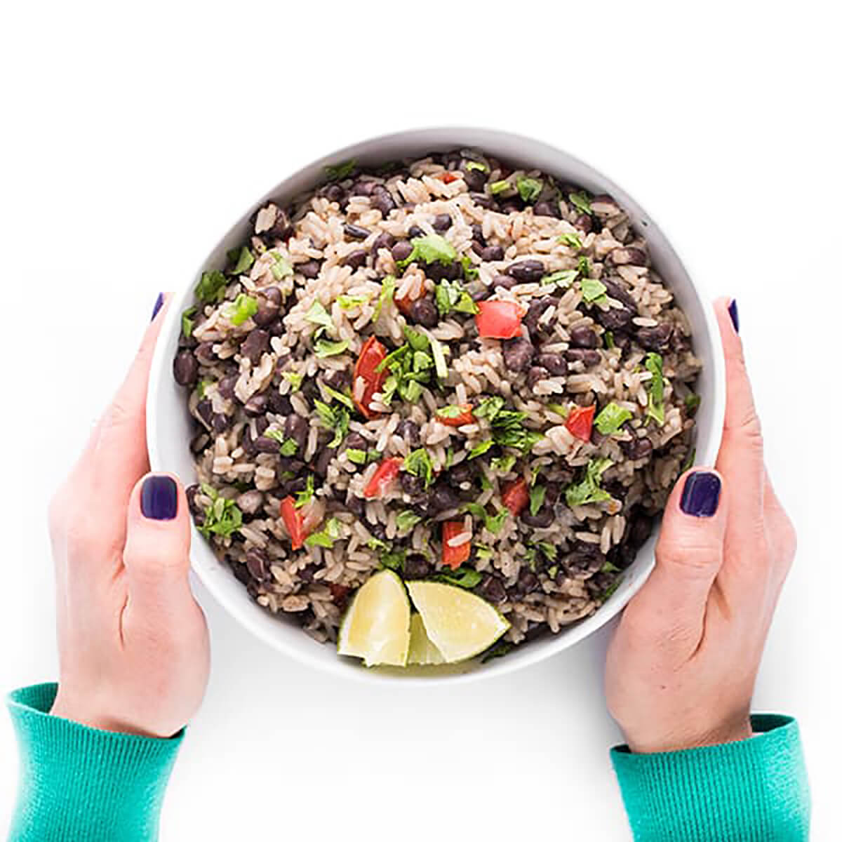 black beans and rice in a bowl