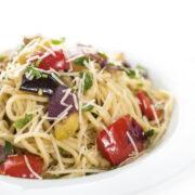Garlic Roasted Veggie Pasta Recipe closeup hr
