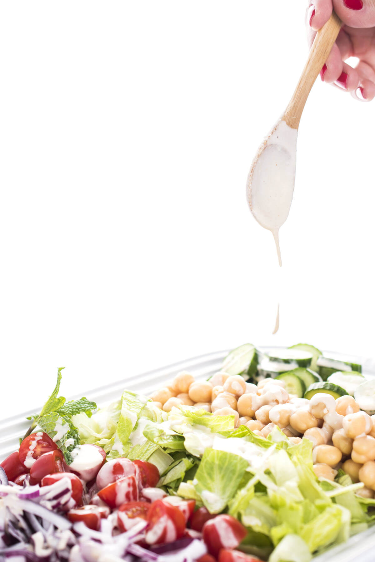Lemon Tahini Salad Dressing on vegetables