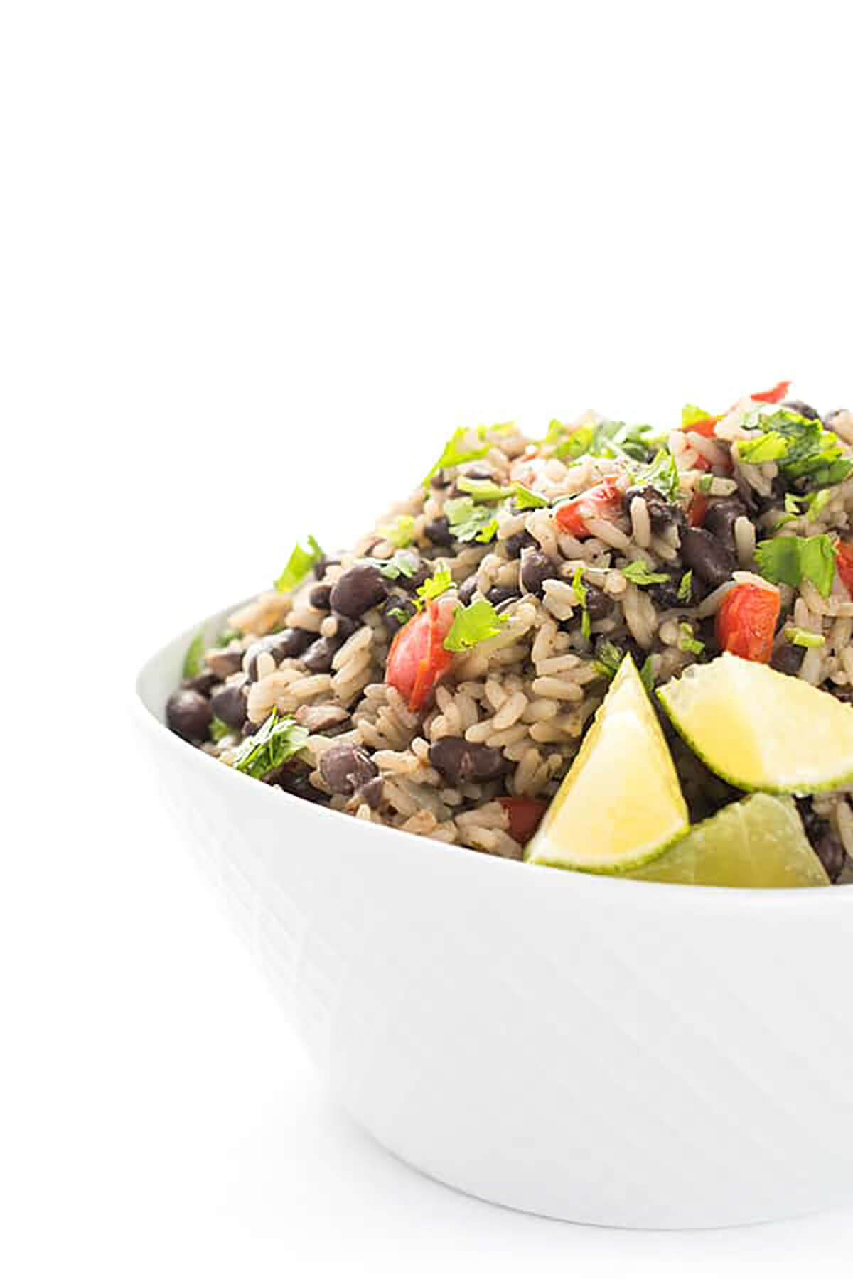 traditional cuban black beans and rice in a dish