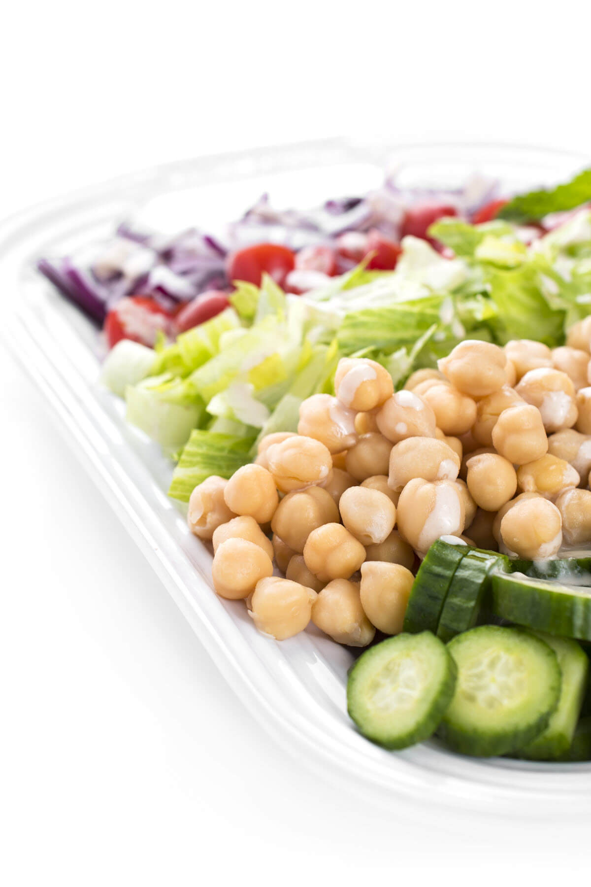 vegetables and chick peas with Lemon Tahini Salad Dressing