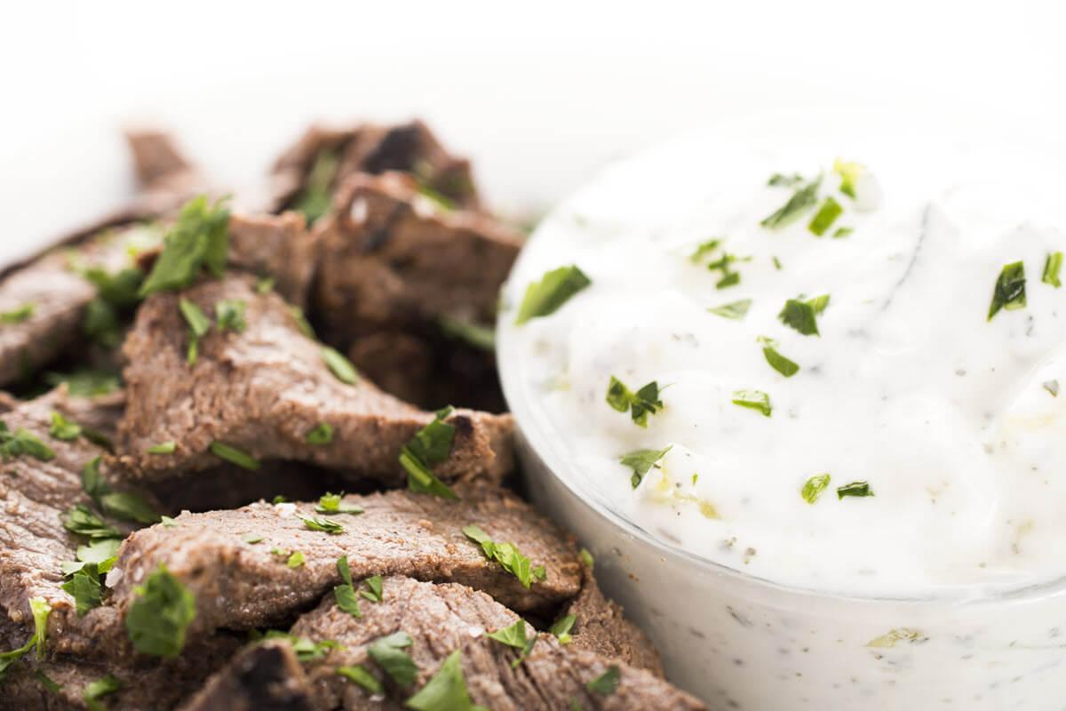Beef Shawarma with Yogurt Sauce