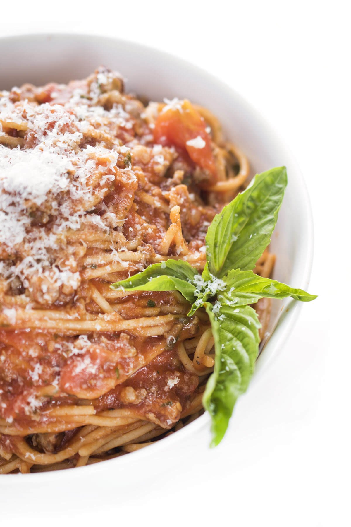 Pasta with Italian Sausage Red Sauce with basil
