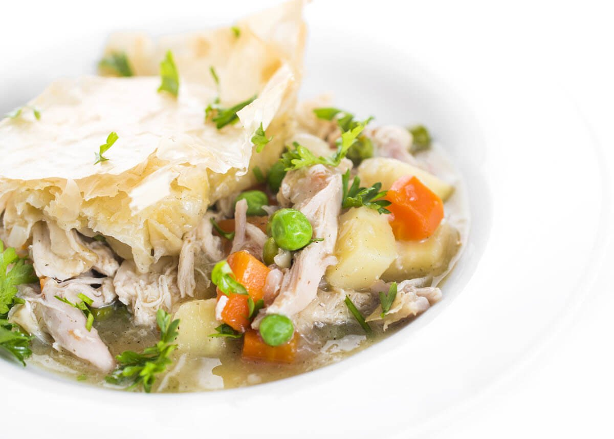 Healthy Chicken Pot Pie in a bowl