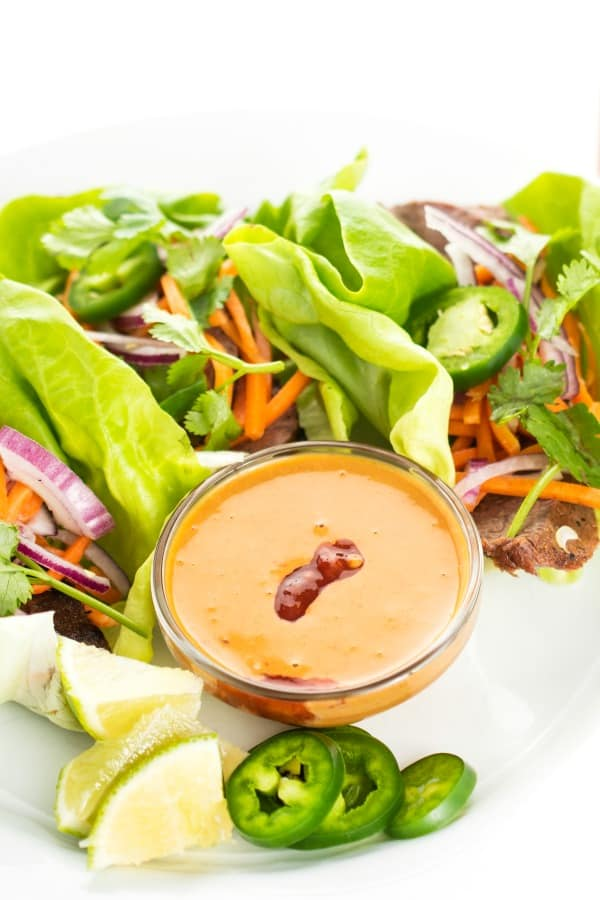 Thai Beef Lettuce Wraps with Peanut Dipping Sauce