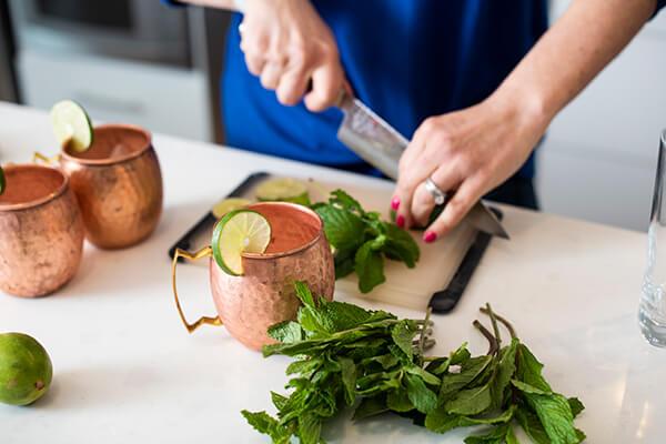 chopping mint