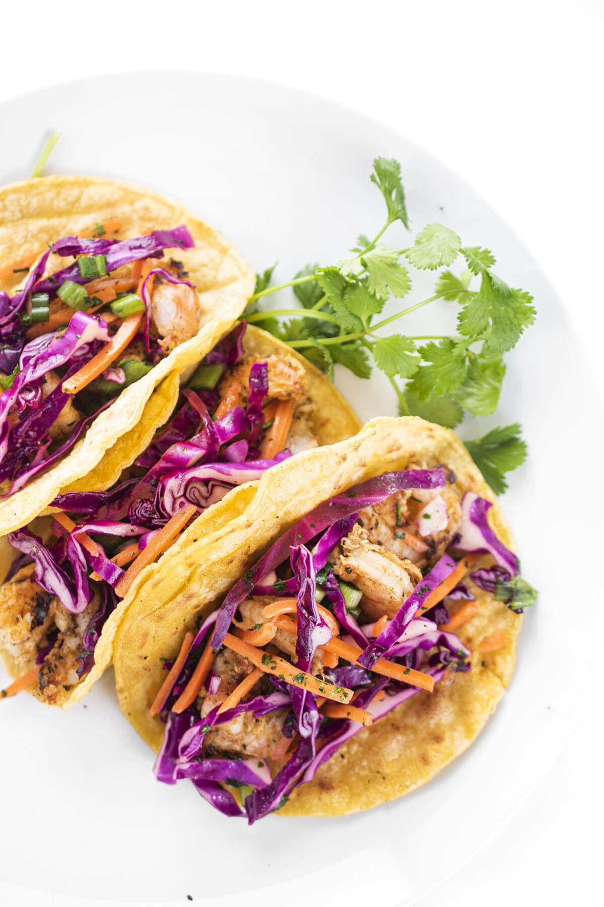 Grilled Shrimp Tacos with Slaw on a plate