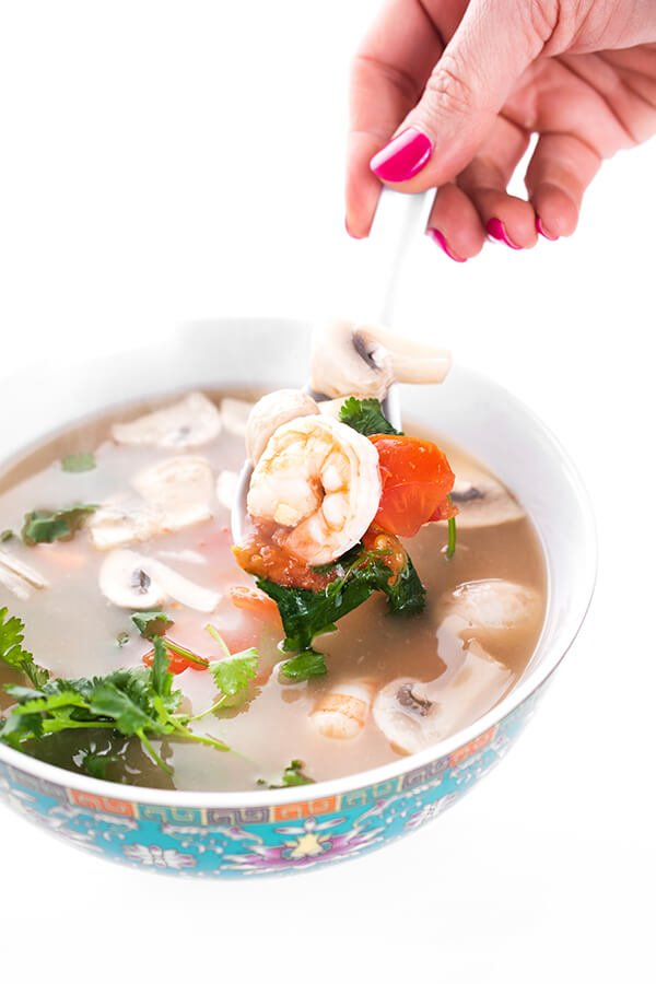 Thai Tom Yum Soup with Shrimp in bowl