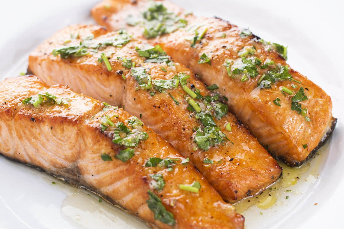 Healthy Grilled Salmon on a plate