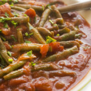 Lebanese Green Beans with Tomatoes in a bowl