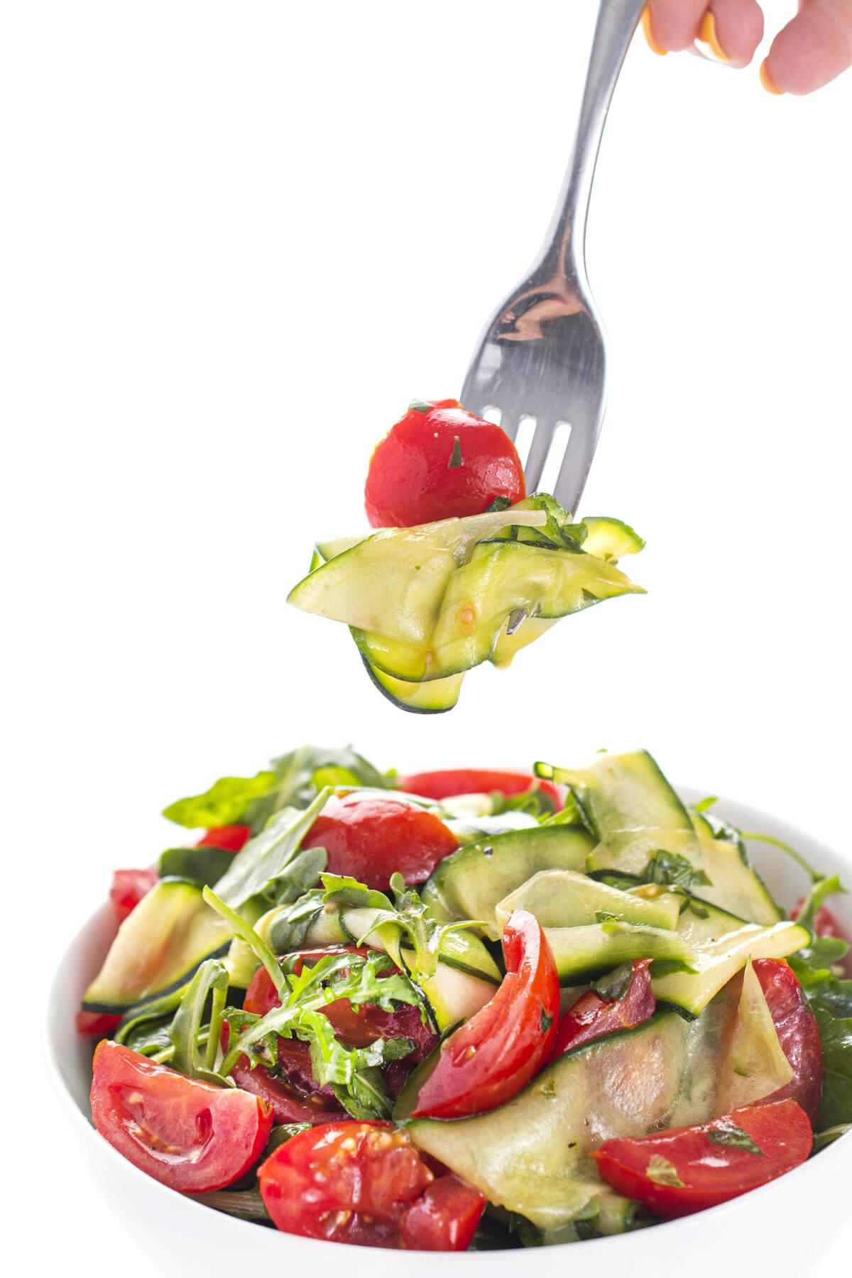 Cucumber Zucchini Salad Recipe in a bowl