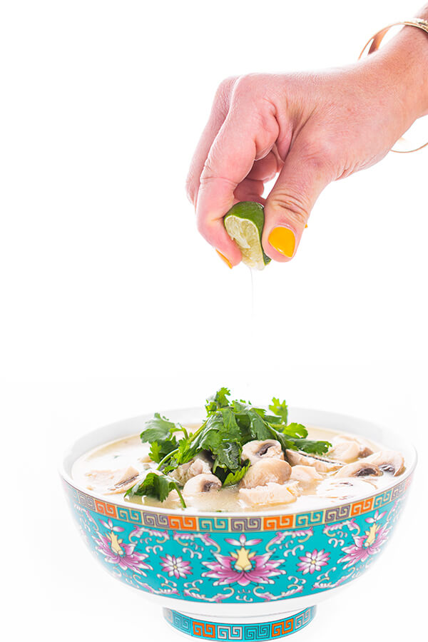 Tom Kha Gai Thai Chicken Coconut Soup with lime