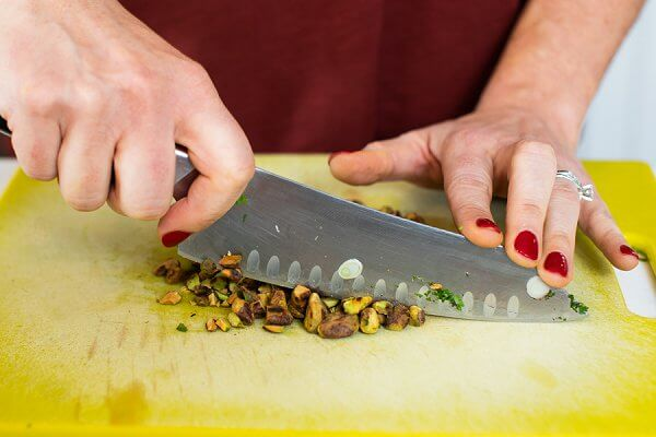 chopping pistachios