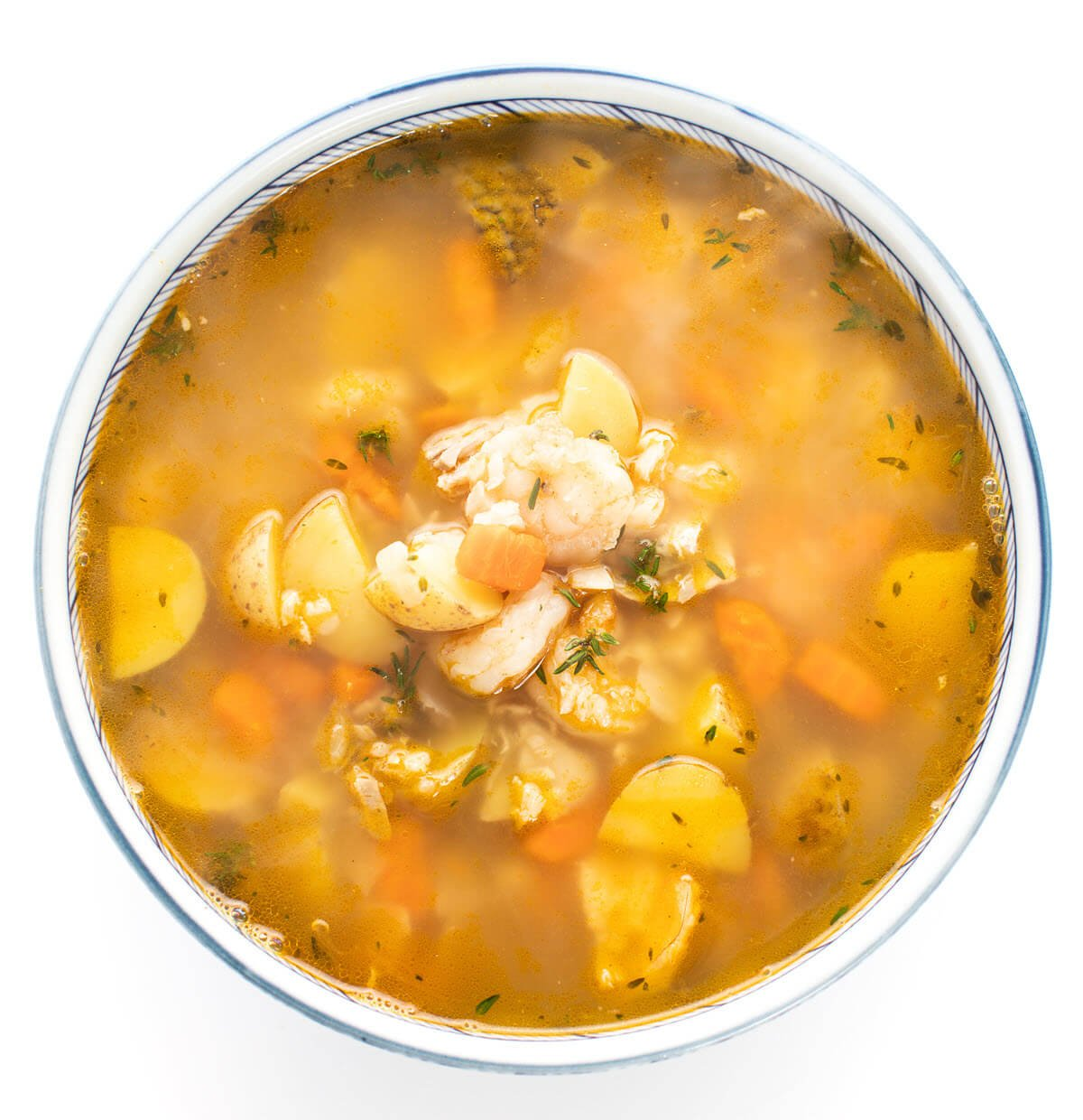 Hearty Caribbean Fish Soup in a bowl