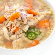 Slow Cooker Caldo de Pollo in a bowl