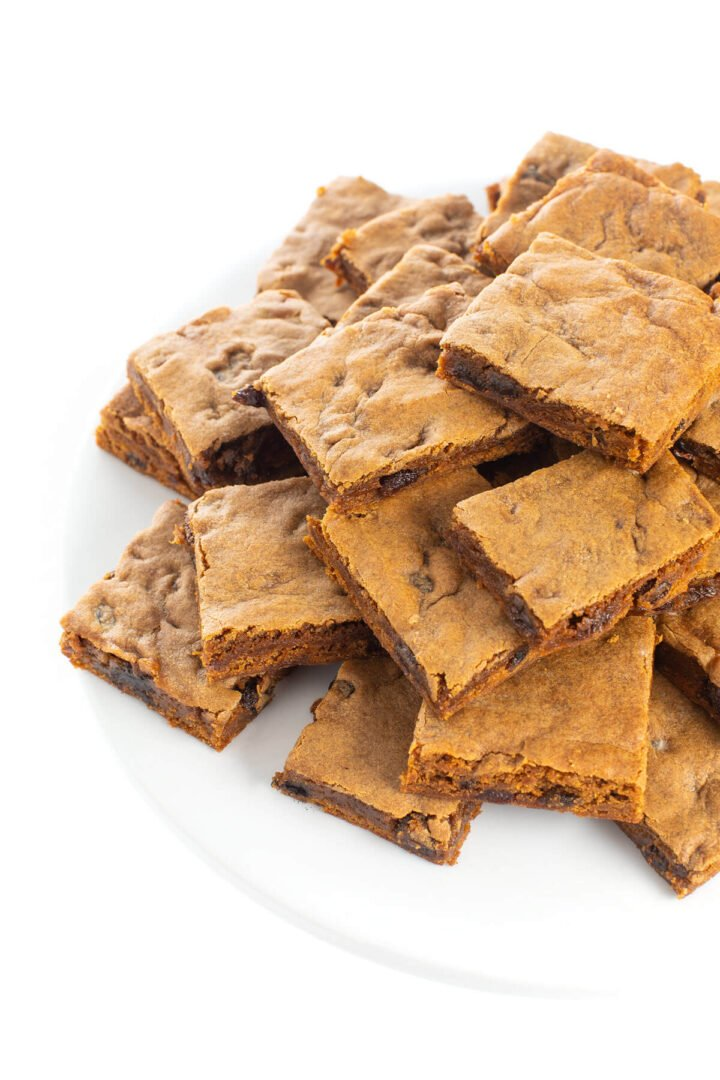 new england hermit cookie bars on a plate