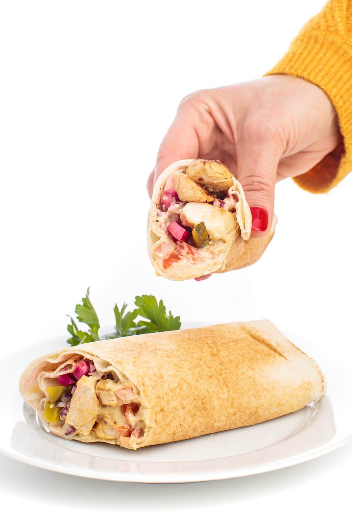 Shish Tawook Pitas with Hummus