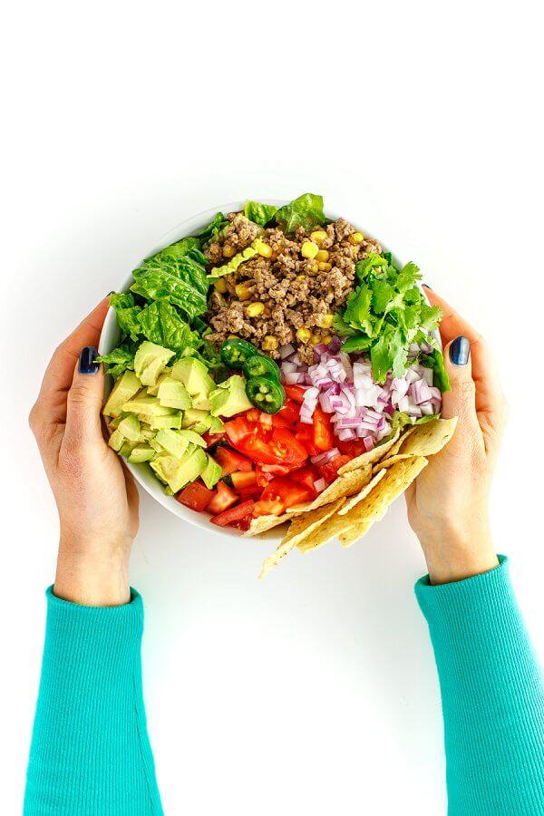 Ground Beef Taco Salad Bowls