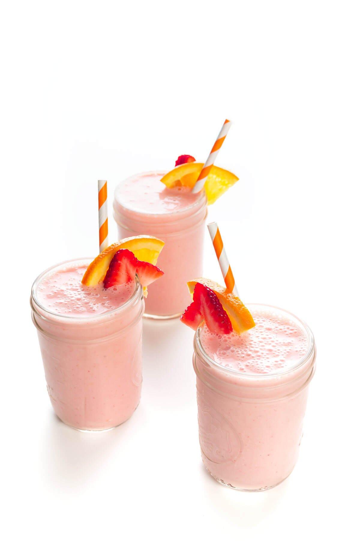 3 Strawberry Sunrise Breakfast Smoothies