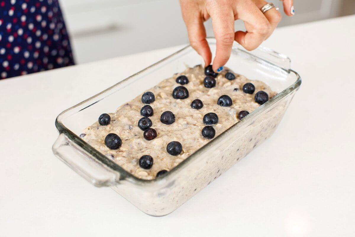 raw blueberry bread batter