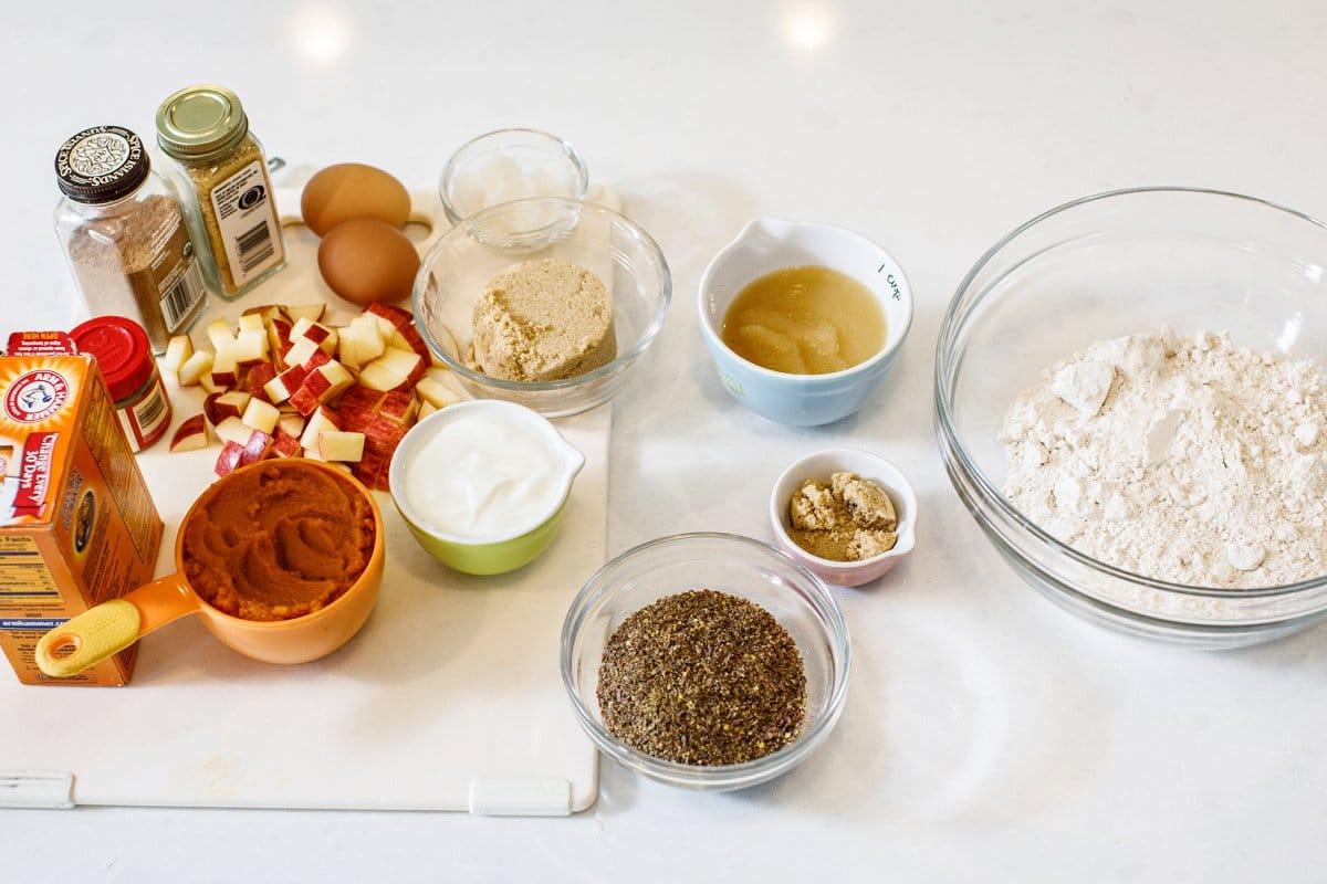 Ingredients for making pumpkin applesauce muffins