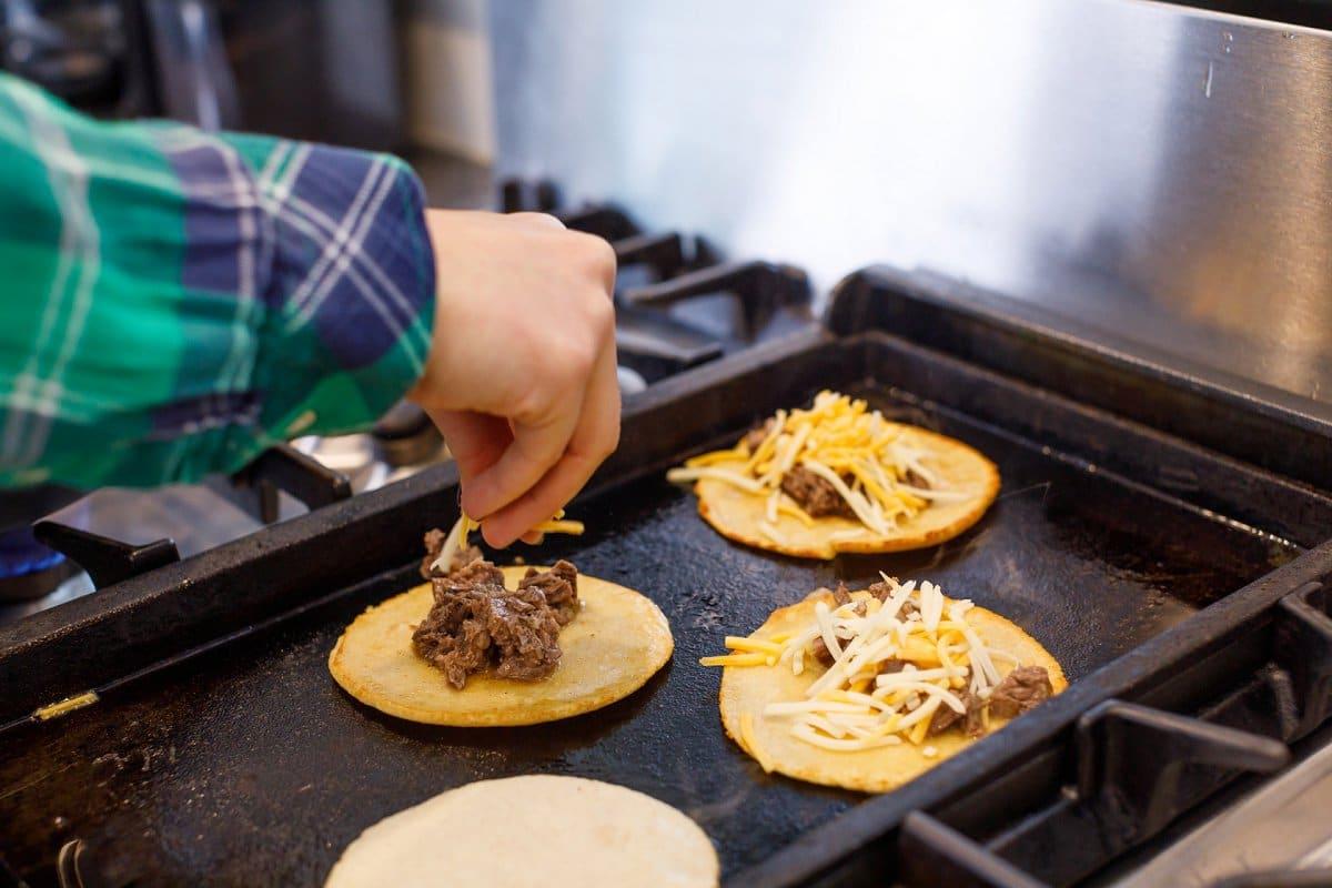 Beef Birria Taco assembly