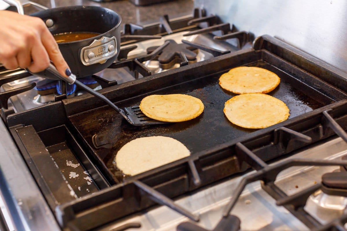 Liz grilling tortillas