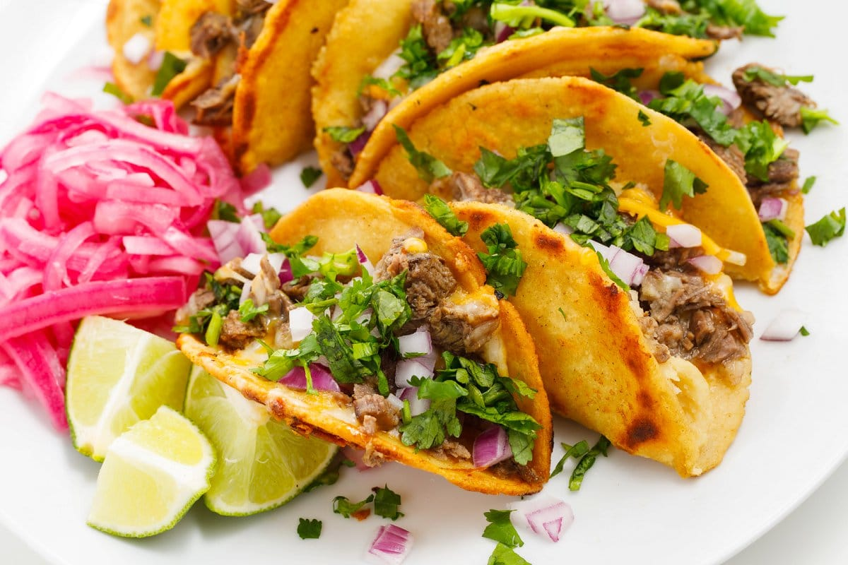 Plate of Beef Birria Tacos