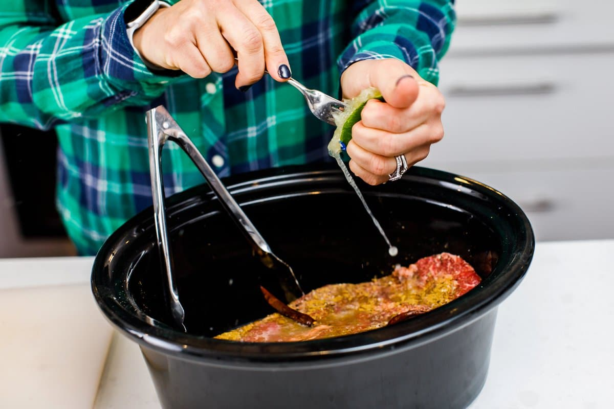 Liz preparing beef