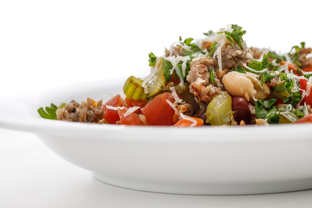 Side view of Italian Sausage and Bean Soup