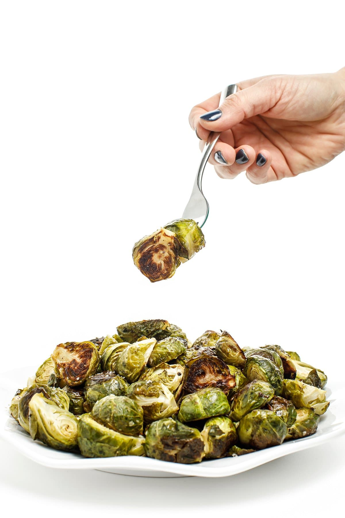 Brussels sprout on fork
