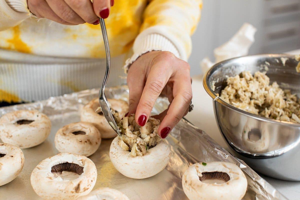 Liz filling stuffed mushrooms