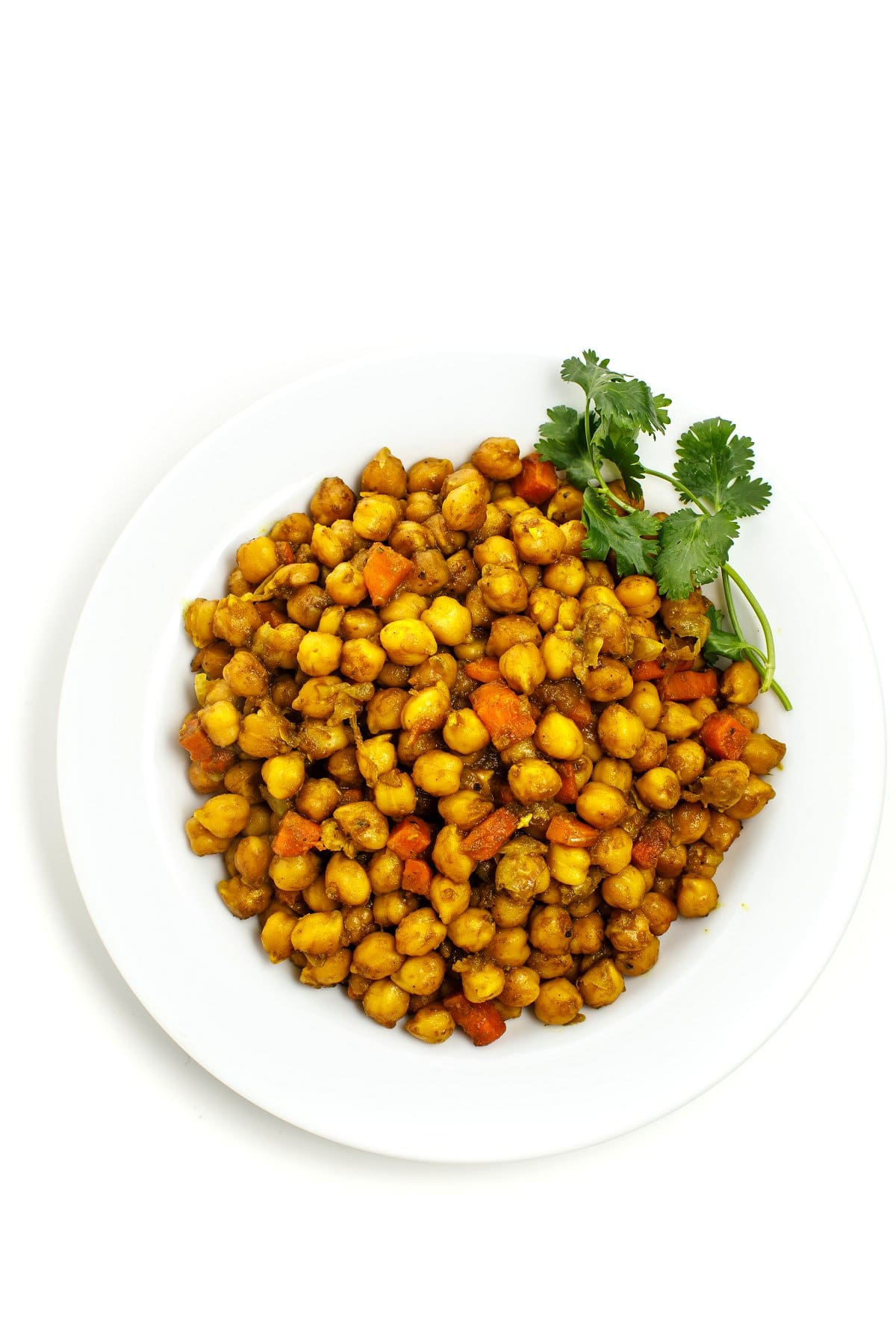 Overhead image of Jamaican Curry Chickpeas