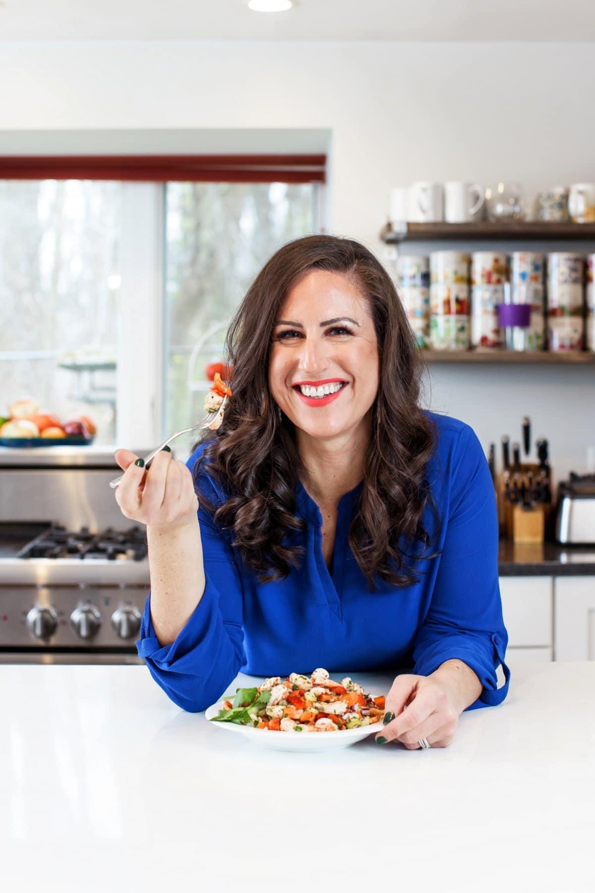 Liz eating Italian Shrimp Salad