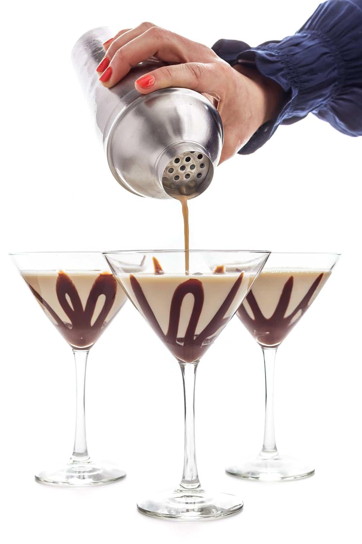 Liz pouring a chocolate martini