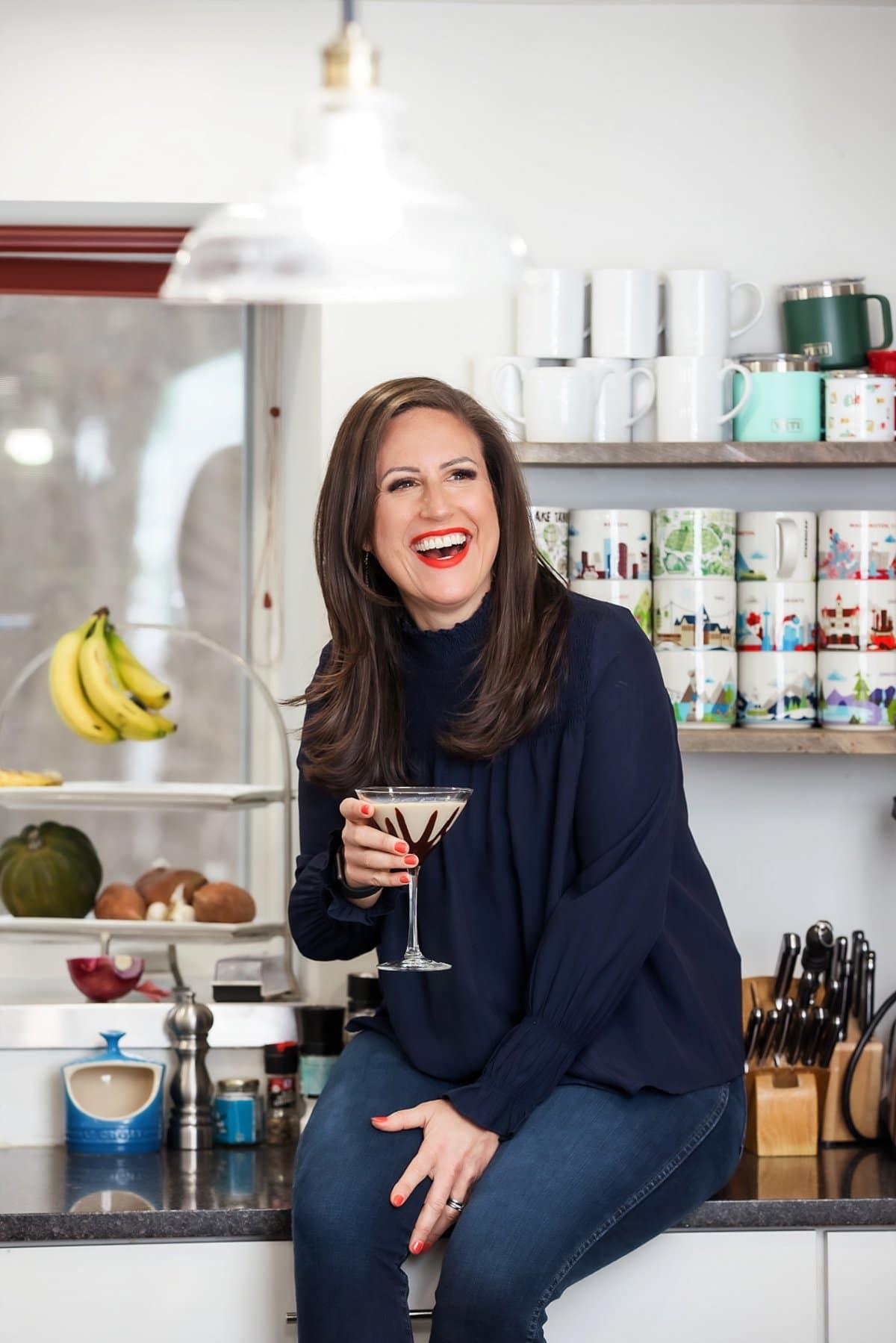 Liz drinking a chocolate martini