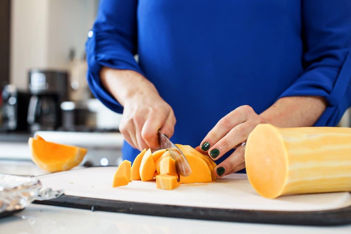 Liz cutting butternut squash