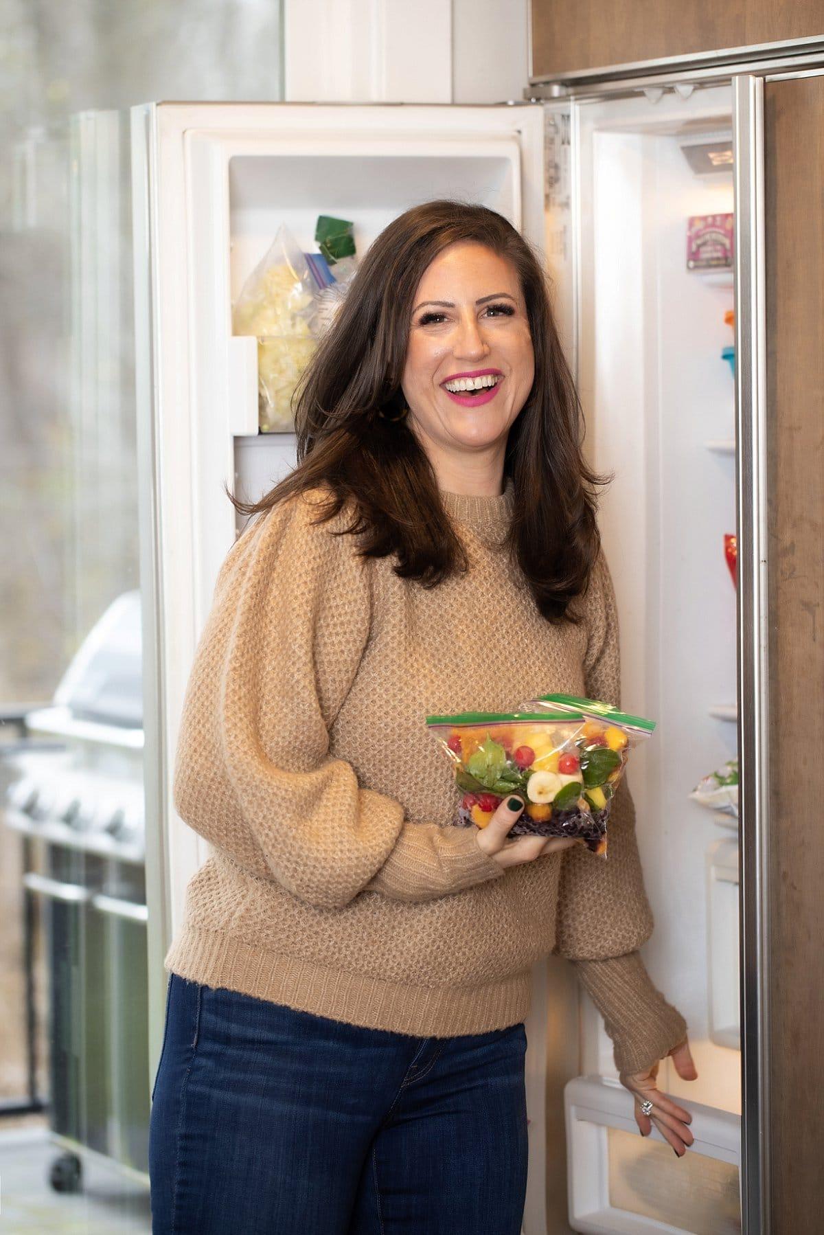 Liz with smoothie freezer bags