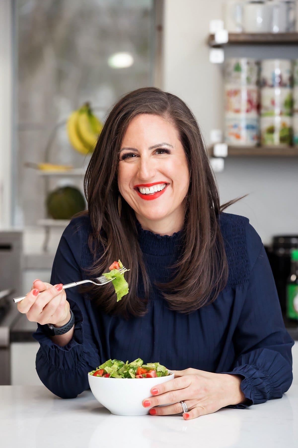 Liz eating syrian salad