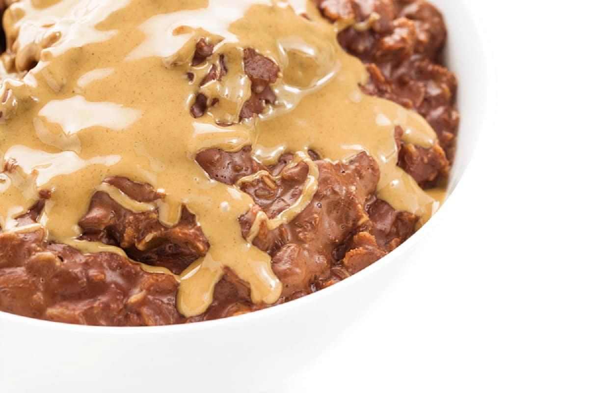 bowl of chocolate peanut butter oatmeal