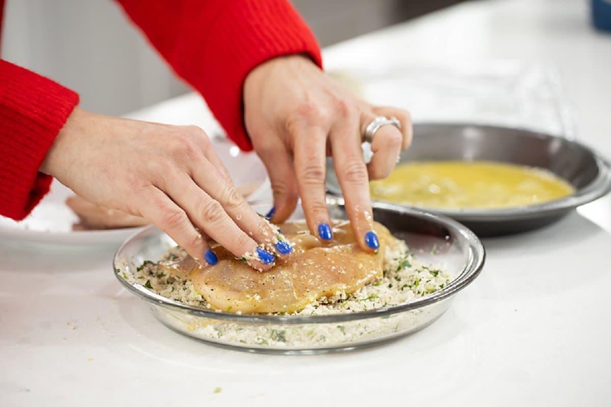 Liz breading chicken parmesan