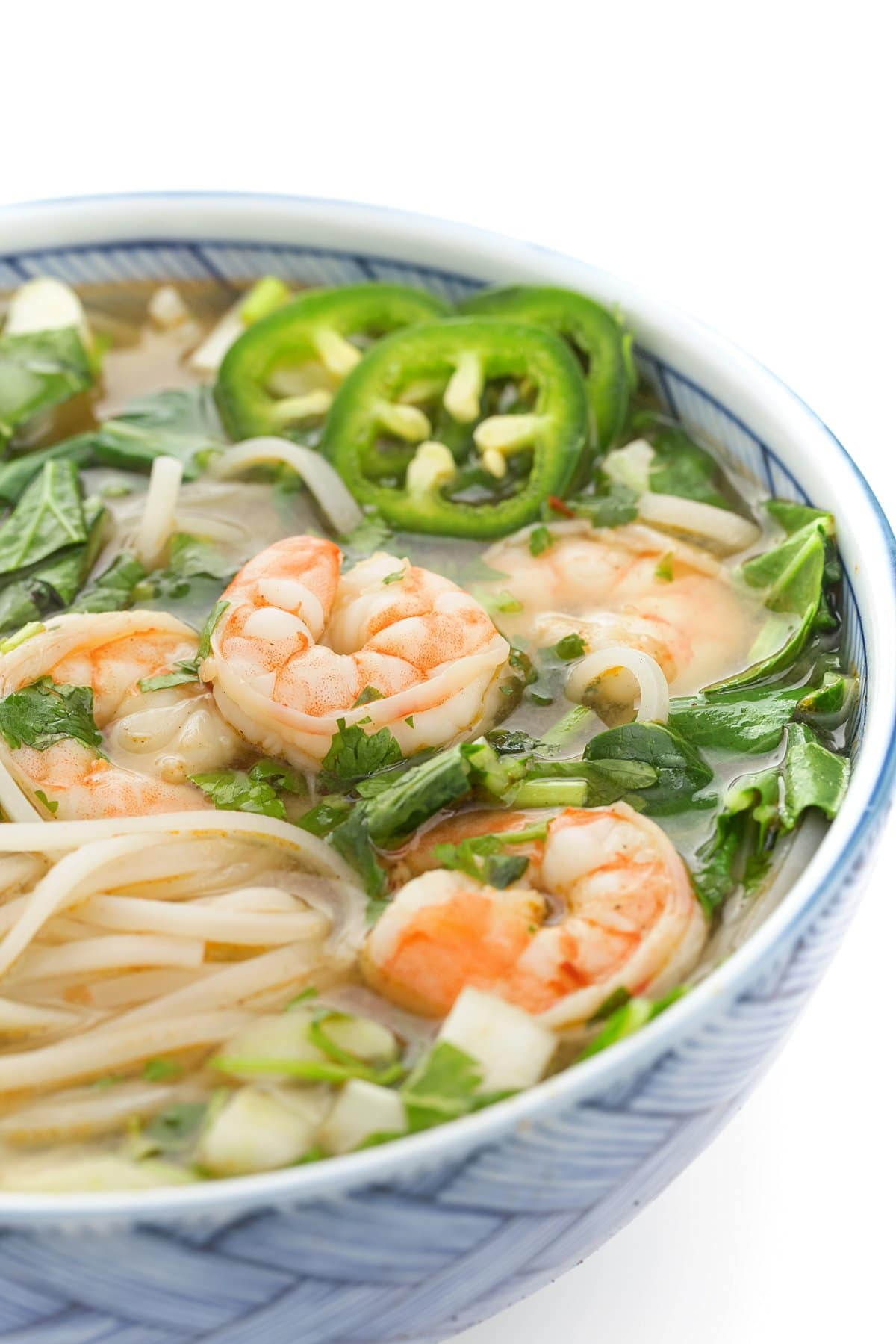 Vietnamese Shrimp Pho with Rice Noodles and Jalapenos