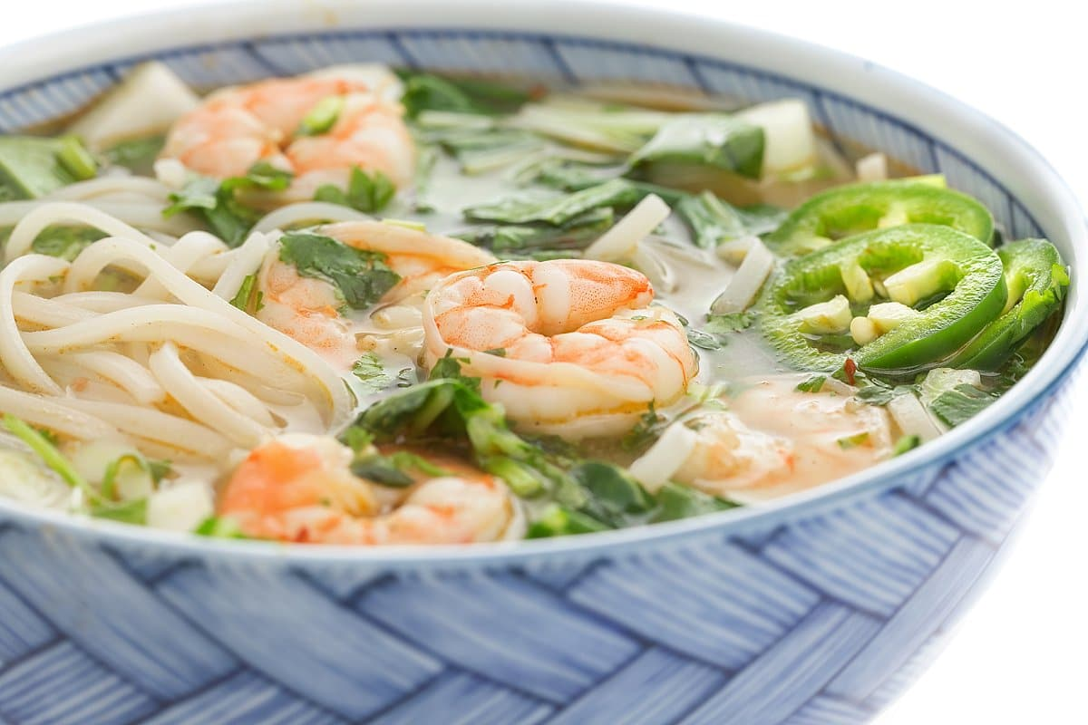 Shrimp Pho with Rice Noodles, Warm Broth, and Bok Choy