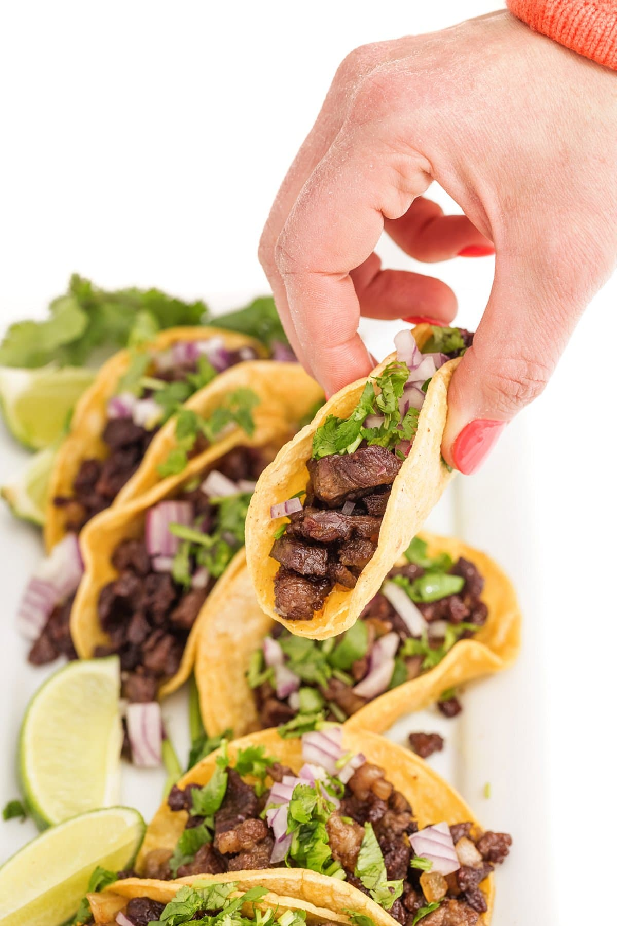Plate of Mexican street tacos